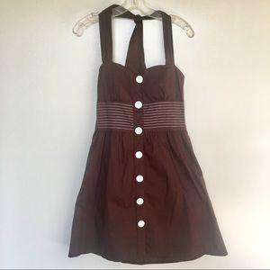 Roxy Rox brown sweetheart neckline halter dress